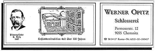 Werner Opitz Schlosserei auf der Permoserstraße 12 in 9055 Chemnitz